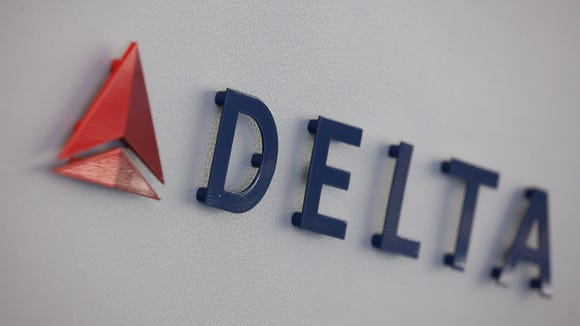 Delta Air Lines' logo, seen inside an Airbus A330 long-haul
