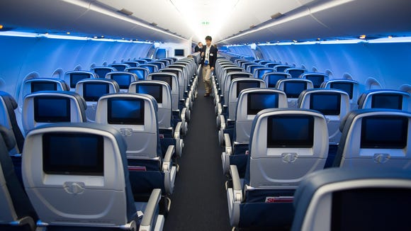 The economy class cabin, on board Delta Air Lines'