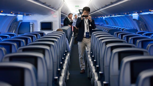 A member of the media checks out Delta Air Lines' new