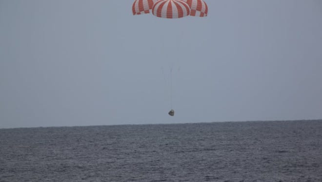 A SpaceX Dragon cargo capsule splashed down in the Pacific Ocean at 2:51 p.m. EDT Wednesday, concluding a successful International Space Station resupply mission.