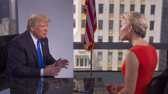 In this handout photo Megyn Kelly (R) and Donald Trump
