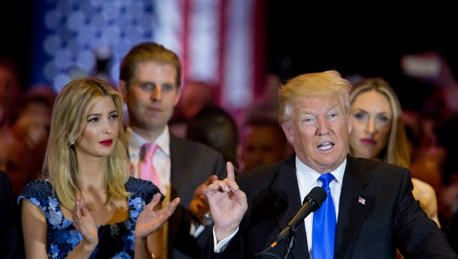 Republican presidential candidate Donald Trump speaks in New York.