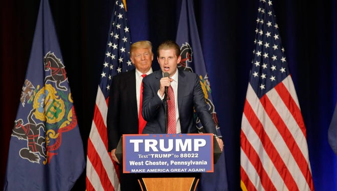 Eric Trump speaks during a campaign rally with his father Republican presidential candidate Donald Trump at West Chester University, Monday, April 25, 2016, in West Chester, Pa.