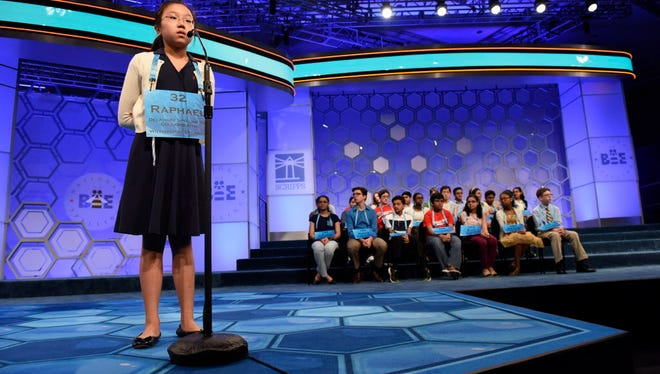 Raphael Kim, 12, of Newark, Del., incorrectly spells 'terpsichore' in the finals during the 2016 Scripps National Spelling Bee at the Gaylord National Resort and Convention Center.