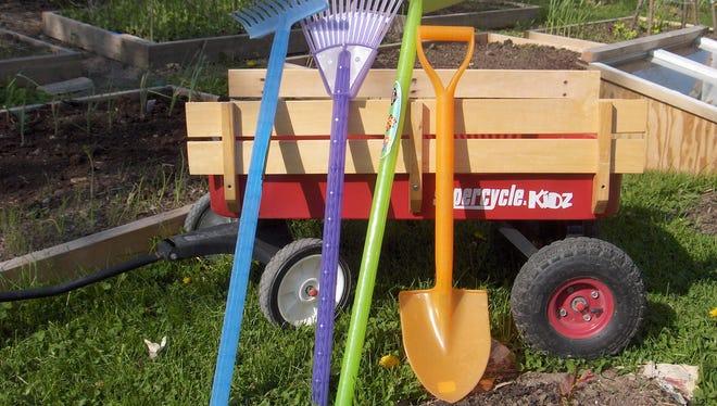 Buy little tools for children to work in the garden.