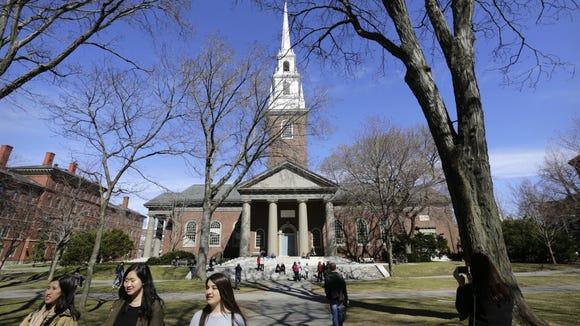 Harvard University campus in Cambridge, Mass., in March