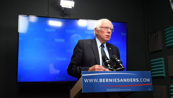 Bernie Sanders prepares to speak for a video to supporters at Polaris Mediaworks on June 16, 2016, in Burlington, Vt.