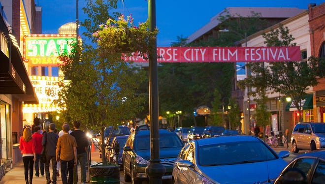 The streets of Traverse City were buzzing with activity as twilight fell during the Traverse City Film Festival.