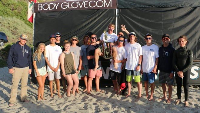 Manasquan High School Surf Team with Shea Grady, 3rd Place JV Longboard champion at NSSA National Championships at Salt Creek, CA.