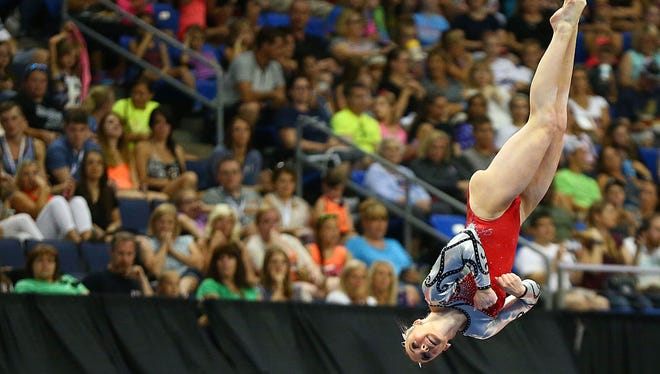 MyKayla Skinner of Gilbert improved on all four events Sunday at the P&G Women's Gymnastics Championships in St. Louis.
