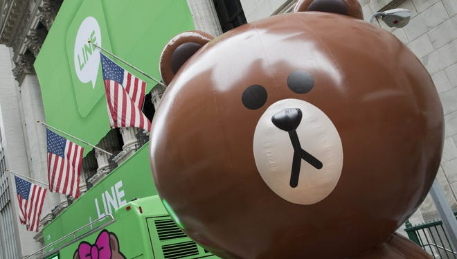Japanese messaging app Line has its IPO at the New York Stock Exchange on July 14, 2016, in New York. Though little known in the U.S., Line has enjoyed a quick surge to popularity in Japan, filling an important communications hole after a devastating earthquake and tsunami in 2011 damaged phone infrastructure.