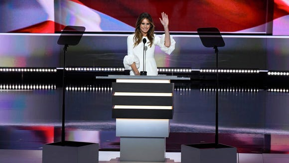 Melania Trump speaks on stage during the 2016 Republican