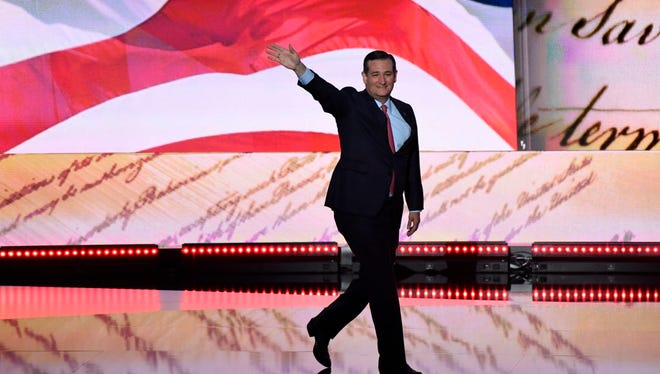 Sen. Ted Cruz, R-Texas, walks on stage during the 2016 Republican National Convention at Quicken Loans Arena.