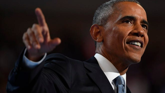 President Obama speaks during the Democratic National Convention at Wells Fargo Center in Philadelphia on July 27, 2016.