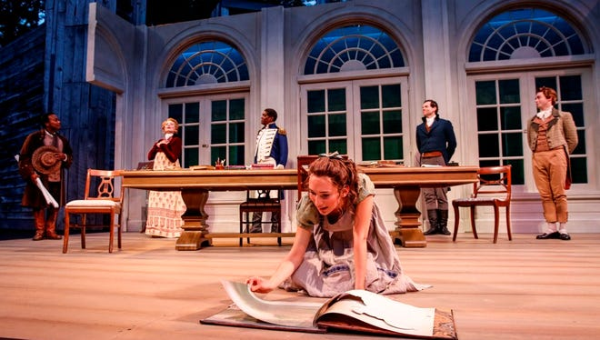 """Rebecca Hurd (foreground) plays a gifted student in American Players Theatre's production of """"Arcadia."""""""