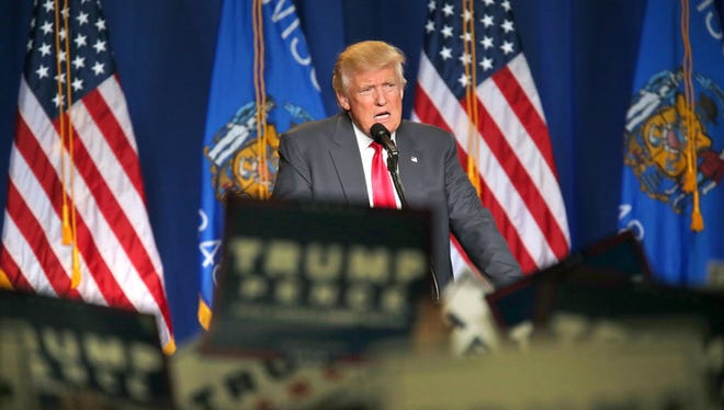 Republican presidential candidate Donald Trump campaigns Aug. 5 in Green Bay.