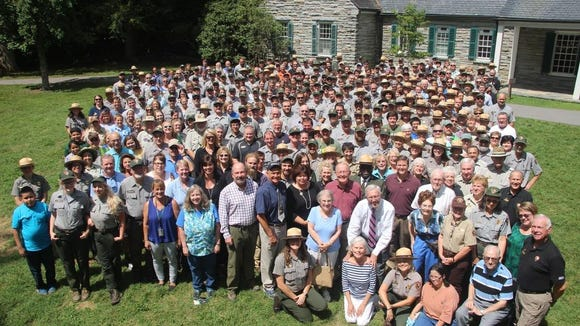 More than 400 park employees and dignitaries gathered at Great Smoky Mountains National Park headquarters in Gatlinburg, Tennessee, to celebrate the 100th anniversary of the National Park Service.