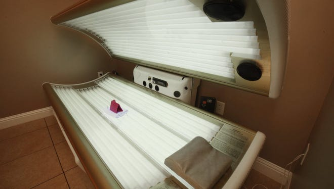 A tanning bed at a California salon.