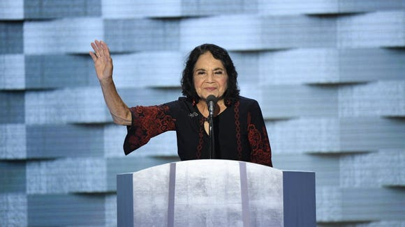 Jul 28, 2016; Philadelphia, PA, USA; Civil rights leader Dolores Huerta speaks during the 2016 Democratic National Convention at Wells Fargo Center.