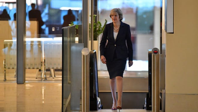British Prime Minister Theresa May arrives to appear on The Andrew Marr Show on October 2, 2016 in Birmingham, England. Mrs May appeared on the show ahead of the official opening of the 2016 Conservative Party conference.