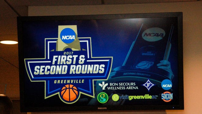 Greenville celebrates being awarded the NCAA Division 1 Men's Basketball First/Second Round Tournament!  October 7, 2016 at Bon Secous Wellness Arena