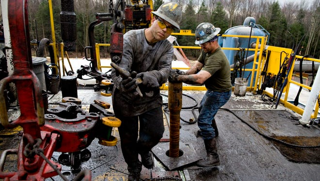 Natural gas drilling in Bradford County, Pa., in 2010.