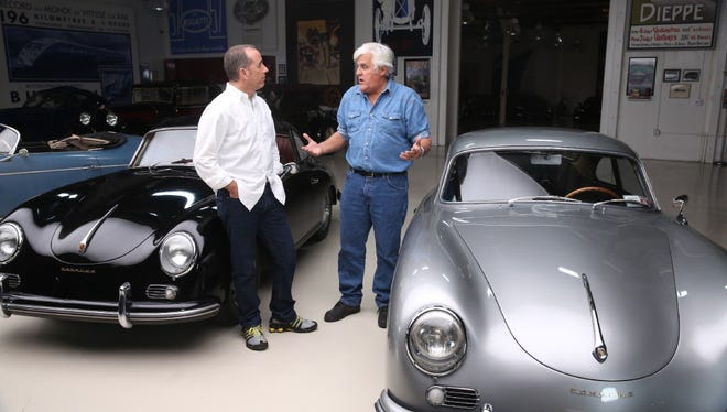 "Jerry Seinfeld and Jay Leno on ""Jay Leno's Garage."""