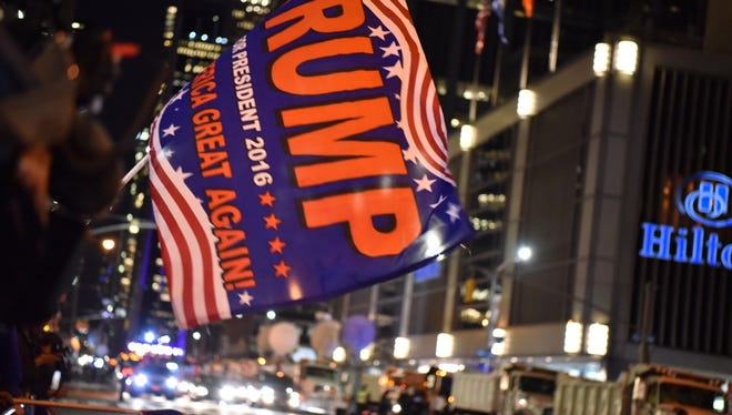 Trump supporters rally in front of Hilton Hotel in New York City, where The Donald J. Trump Campaign had its headquarters on Election Night.