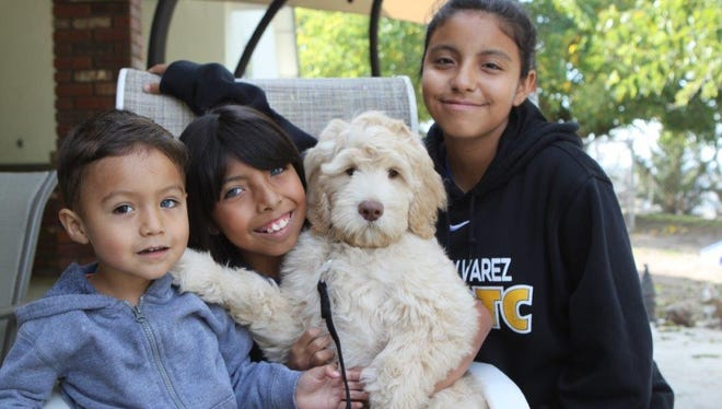 """Yeshua, Catalina and Abril pose for a photo on the day the Salinas family was able to bring the dog home. Catalina was born deaf, and the family is raising funds to have """"Buddy"""" trained as her hearing service dog."""