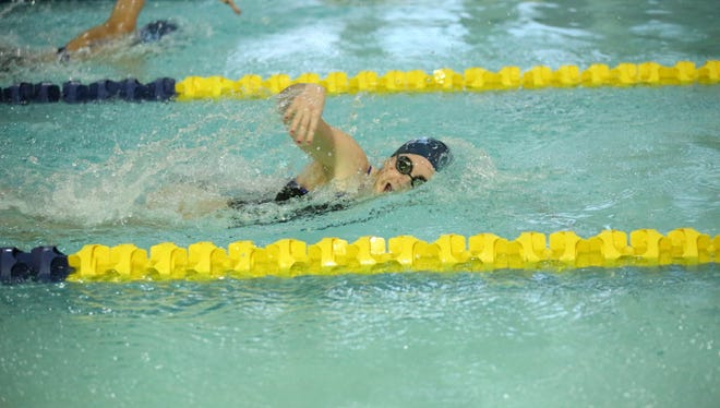 Amanda Lauer swims for Immaculate Heart Academy during the 200-yard freestyle at the Big North United meet at Hackensack High School.