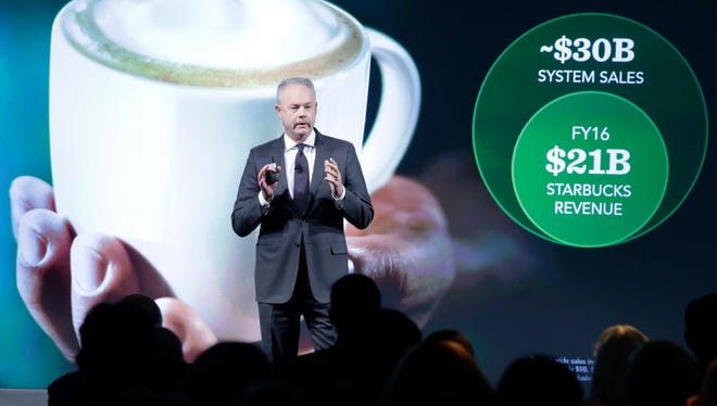 Starbucks President and COO Kevin Johnson presents during the Starbucks 2016 Investor Day meeting, in New York on Wednesday.