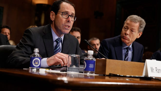 Time Warner Chairman and CEO Jeffrey Bewkes, right, with AT&T Chairman and CEO Randall Stephenson as Stephenson  testified on Wednesday at a Senate Judiciary subcommittee hearing on the proposed merger between AT&T and Time Warner.