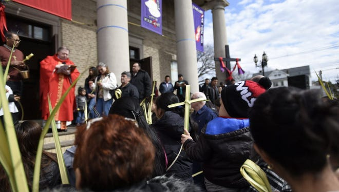 St. Michael's R.C. Church in Palisades Park during Palm Sunday services. Jose Teletor of Guatemala was found dead there last week. File photo