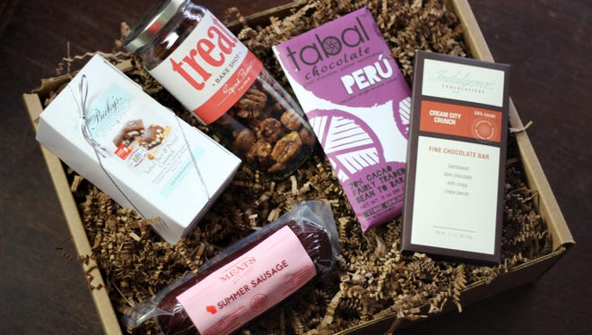 """From Milwaukee with Love's """"Local Sampler"""" box includes chocolate, caramels, spiced nuts and summer sausage."""
