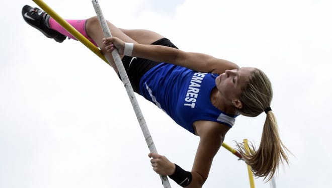 NV/Demarest senior Michelle Rubinetti is the Bergen County record holder for the indoor pole vault with a jump of 12-foot-6-inches.