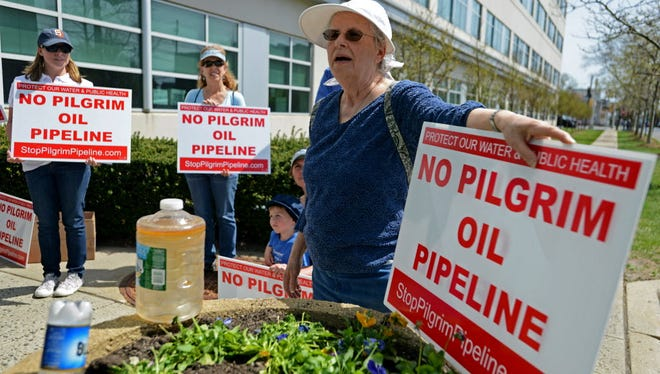 Sylvia Weisbrot of Linden, far right, of the League of Women's Voters, spoke out against the Pilgrim Pipeline in April while demonstrating with a coalition of local residents and state environmental groups.