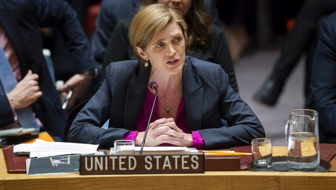 Samantha Power, U.S. ambassador to the UN, addresses the Council after the Dec. 23 vote on Israeli settlements.