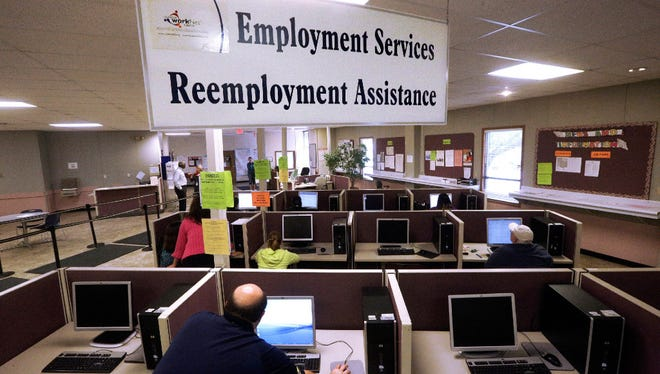 A file photo of an employment security office in Illinois.