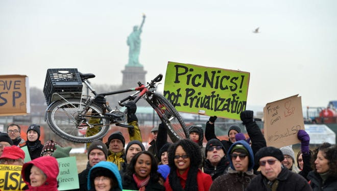 Advocates demonstrate at Liberty State Park in February to protest efforts by the Christie administration to bring large-scale private development to the Jersey City park.