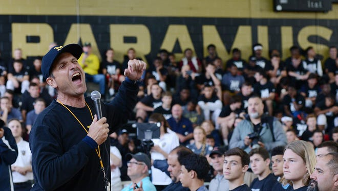 University of Michigan head football coach Jim Harbaugh's satellite camp at Paramus Catholic drew over 700 young football players. His ability to attract top players from North Jersey to Ann Arbor makes him the most powerful person in this area's high school scene.