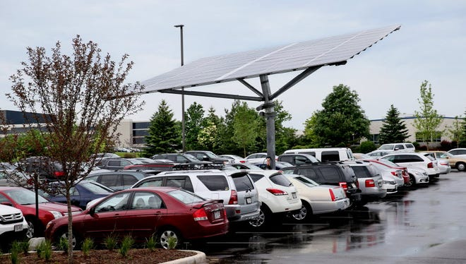 This large solar panel was installed at the Kohl's Innovation Center in Menomonee Falls in 2015. Kohl's is one of the top 10 U.S. consumers of solar panels.
