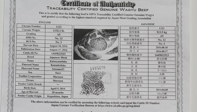 """The carcass history and quality certification, including the """"nose print"""" of my Wagyu beef sample."""
