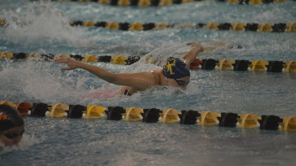 Gabby Baratta of NV/Old Tappan swims in the 2015 Bergen