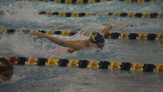 Gabby Baratta of NV/Old Tappan swims in the 2015 Bergen County Meet of Champions.
