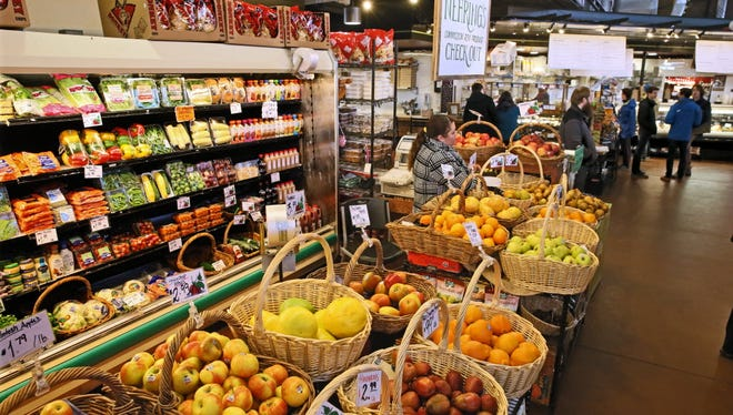 Vendors at the Milwaukee Public Market offer groceries as well as prepared foods.