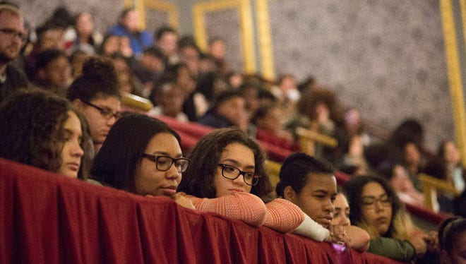 """Students from three Paterson schools — Eastside, JFK and Panther Academy — listen to cast members from the Broadway smash """"Hamilton"""" last year. The city's schools remain among the most racially segregated in the state."""