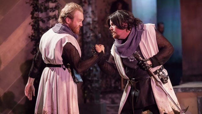 "Josh Katawick, left, is Edward and Billy Chace plays Richard in Cincinnati Shakespeare Company's production of William Shakespeare's ""Henry VI: The Wars of the Roses, Part 2."""