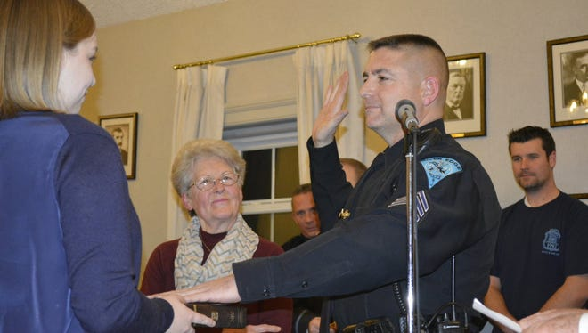 River Edge Sergeant Marc Abate, above being sworn in 2015, revived a person in two separate instances during a recent three-week period.