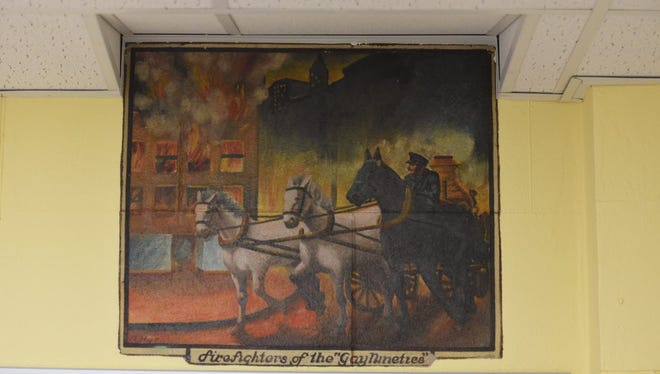 One of the WPA murals located inside borough hall that the Historic Commission would like to protect.