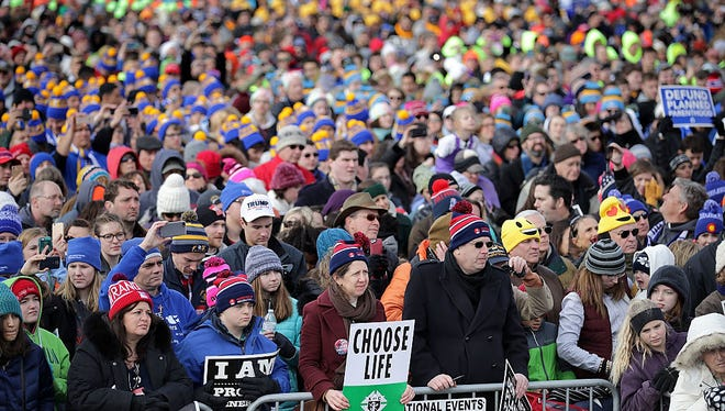 WASHINGTON, DC - JANUARY 27:  Thousands of people rally on the National Mall before the start of the 44th annual March for Life January 27, 2017 in Washington, DC. The march is a gathering and protest against the United States Supreme Court's 1973 Roe v. Wade decision legalizing abortion.  (Photo by Chip Somodevilla/Getty Images)